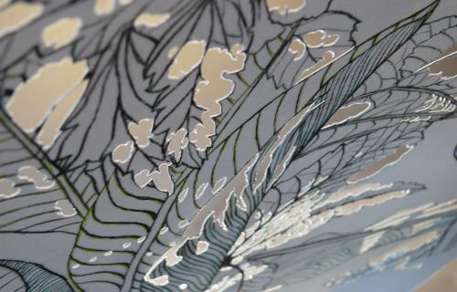 E.Poncet-I.Bringer.  Verdure et morsures II. détail.gravure sur papier découpé. 76x56cm