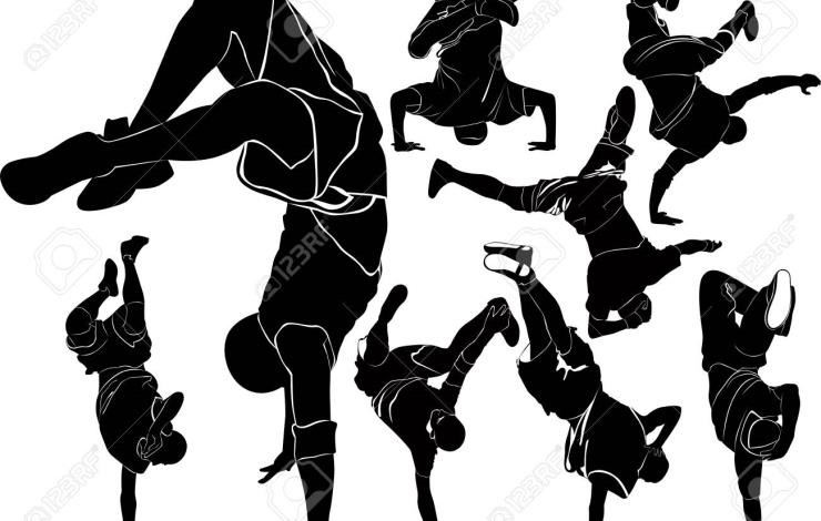 collection breakdance break dance. Silhouettes breakdancer on a white background.